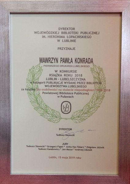 """Książka """"Sto osobliwości na stulecie Niepodległości 1918–2018"""" nagrodzona Wawrzynem Pawła Konrada"""