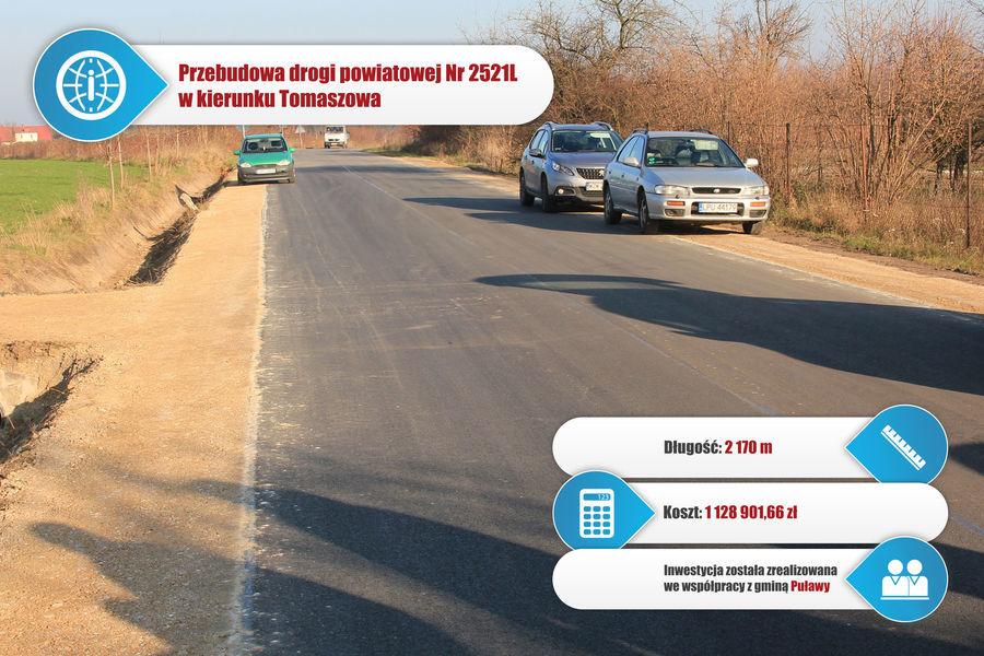 Droga powiatowa nr 2521L w Klikawie w stronę Tomaszowa.