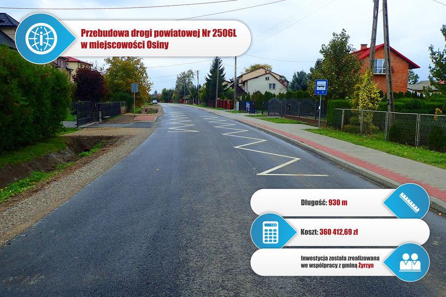 Droga powiatowa nr 2505L w miejscowości Osiny.