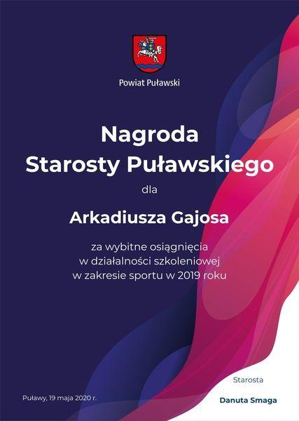 Dyplomy dla najlepszych sportowców powiatu puławskiego 2019