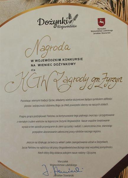 Nagroda - dyplom dla KGW Zagrody
