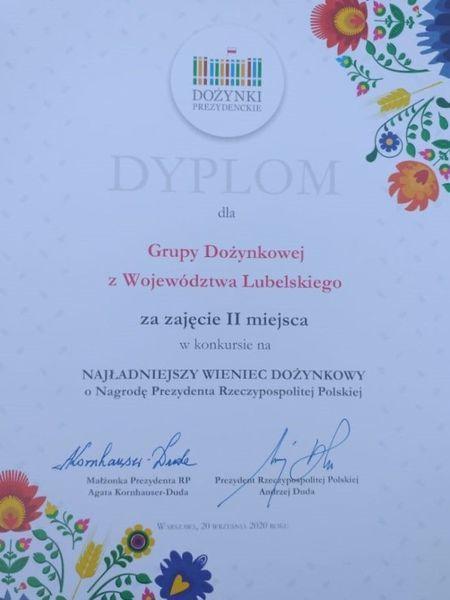 Dyplom dla Grupy Dożynkowej z Województwa Lubelskiego za zajęcie II miejsca w konkursie wieńców