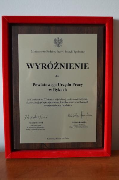 Powiatowy Urząd Pracy w Rykach wśród najlepszych urzędów w Polsce