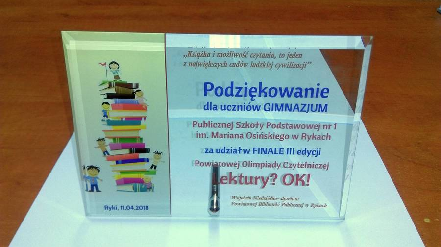 """III Powiatowa Olimpiada Czytelnicza  """"LEKTURY? OK!"""""""