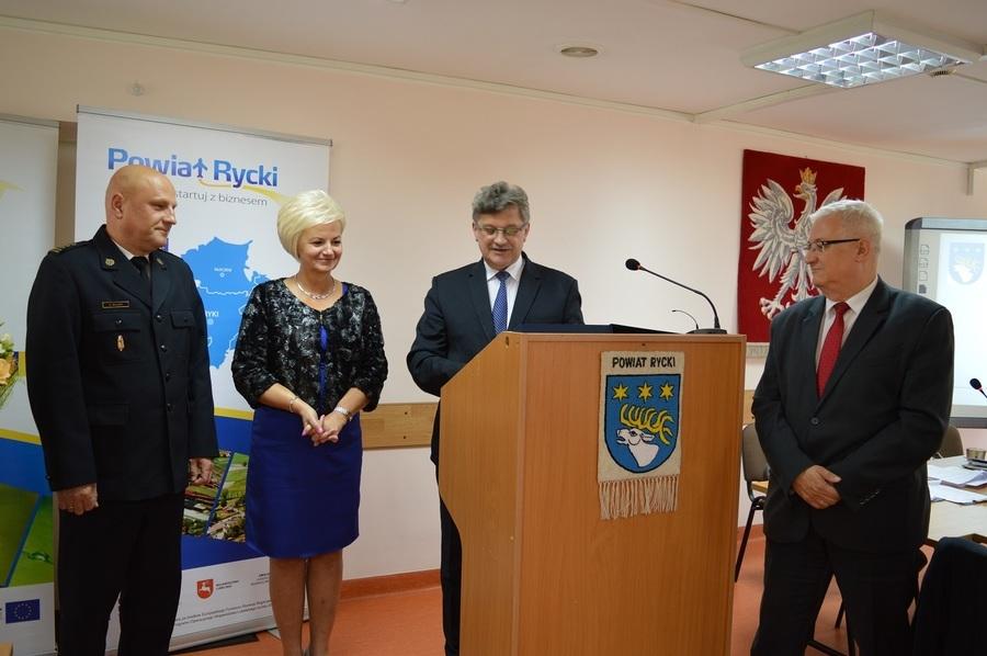 Pożegnanie ze służbą st. bryg. Krzysztofa Miłosza Komendanta Powiatowego PSP w Rykach