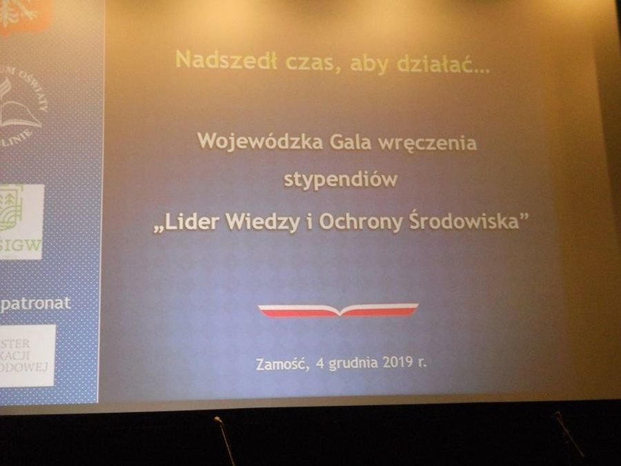 """Wojewódzka gala wręczenia stypendiów """"Lider Wiedzy i Ochrony Środowiska"""""""