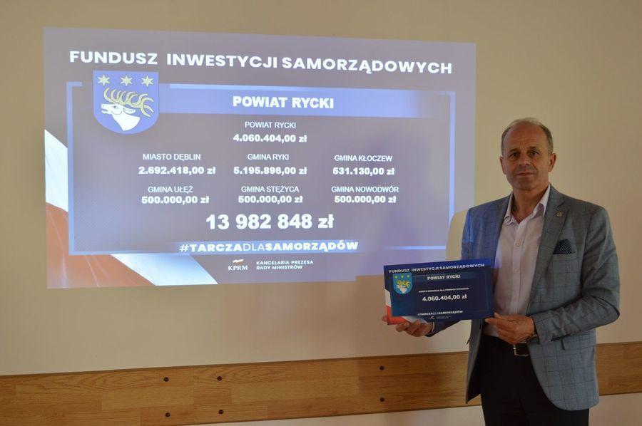 Blisko 14 mln zł dla samorządów powiatu ryckiego z