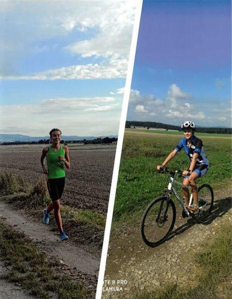 mieszkanka podczas biegania i na rowerze