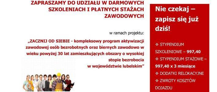 Oferta bezpłatnych szkoleń zawodowych i staży dla mieszkańców gminy