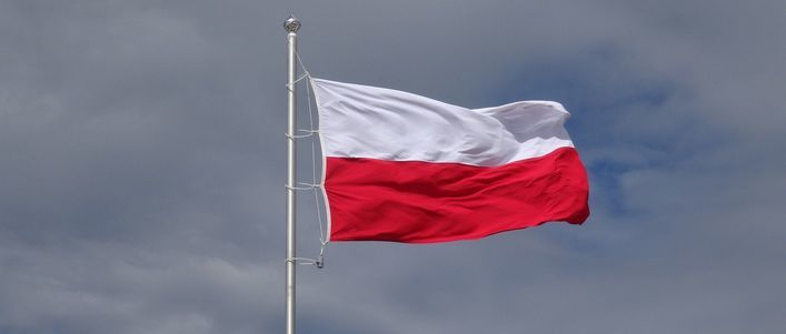 Flaga Polski na szarym tle