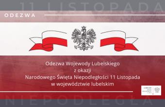 Odezwa Wojewody Lubelskiego z okazji Narodowego Święta Niepodległości