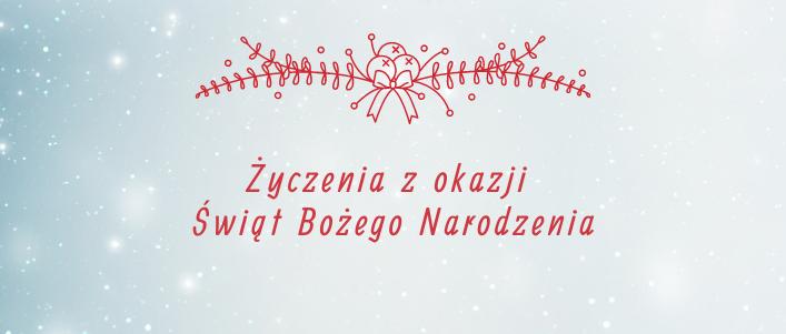 Napis na świątecznym tle: Życzenia z okazji Świąt Bożego Narodzenia