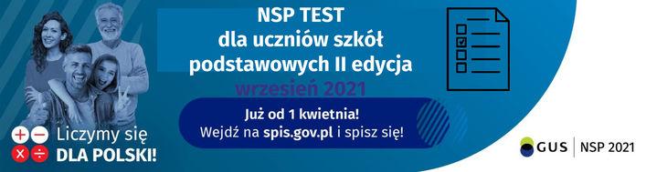 Baner z napisami Konkurs test wiedzy o Narodowym Spisie Powszechnym 2021