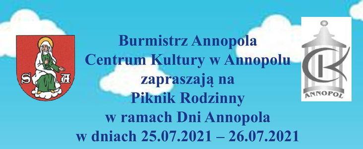 Burmistrz Annopola Centrum Kultury w Annopolu zapraszają na Piknik Rodzinny