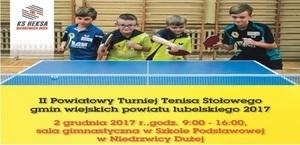 Serdeczenie zapraszamy do udziału w II Powiatowym Turnieju Tenisa Stołowego gmin wiejskich powiatu lubelskiego 2017.