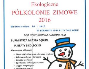 EKOLOGICZNE PÓŁKOLONIE ZIMOWE 2016