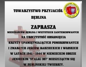 """Zaproszenie na uroczystość odsłonięcia krzyży upamiętniających ofiary obozu """"Stalag 307"""""""