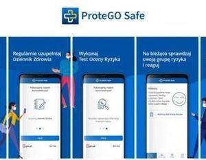 Grafika przedstawiająca aplikacje: ProteGO Safe.