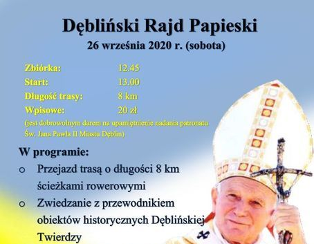 Rowerowy Dębliński Rajd Papieski 26.09.2020 r.