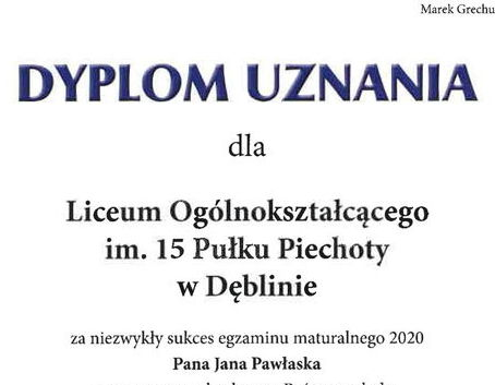 Fragment dyplomu uznania dla Jana Pawłaska