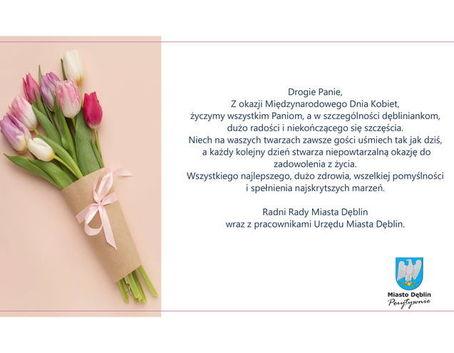 Życzenia w formie graficznej ze zdjęciem tulipanów