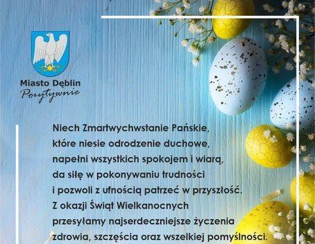 Kawałek życzeń w formie graficznej, herb Miasta Dęblin z napisami Miasto Dęblin Pozytywnie i życzeniami