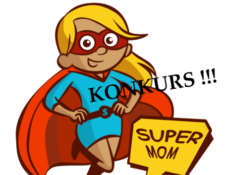 Ilustracja super mama z napisem konkurs