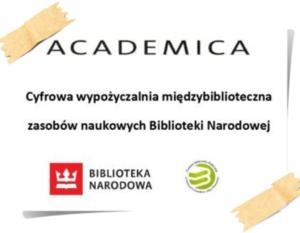 Plakat z napisami: ACADEMICA Cyfrowa wypożyczalnia międzybiblioteczna zasobów naukowych Biblioteki Narodowej BIBLIOTEKA NARODOWA
