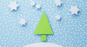Grafika choinka na śniegu