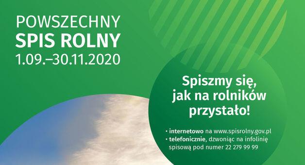 Grafika z napisem POWSZECHNY SPIS ROLNY 1.09.-30.11.2020 Spiszmy się, jak na rolników przystało! • internetowo na www.spisrolny.gov.pl • telefonicznie, dzwoniąc na infolinię spisową pod numer 22 279 99 99