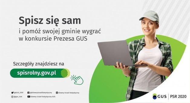 Grafika z napisem Spisz się sam i pomóż swojej gminie wygrać w konkursie Prezesa GUS. Szczegóły znajdziesz na spisrolny.gov.pl