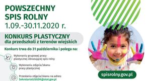 Dziewczynka z pomalowaną twarzą i rękoma na plakacie konkursowym