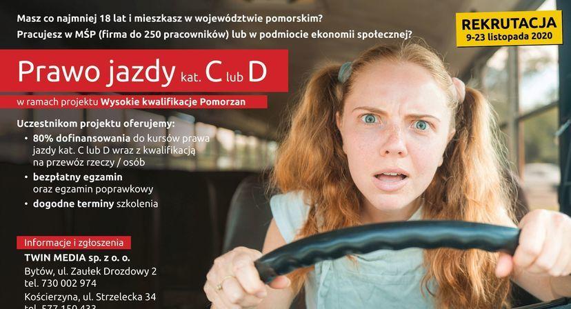 Plakat rekrutacyjny na prawo jazdy