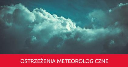 Grafika napis na czerwonym tle - Ostrzeżenie meteorologiczne