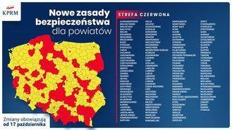 grafika mapa z powiatami strefy żółte i czerwone