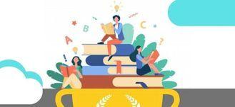 Ilustracja osób czytających książki