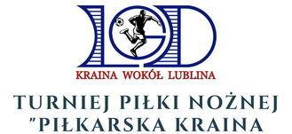 """Kawałek plakatu: logo LGD Kraina Wokół Lublina: Zapraszamy na Turniej Piłki Nożnej """"Piłkarska Kraina wokół Lublina"""