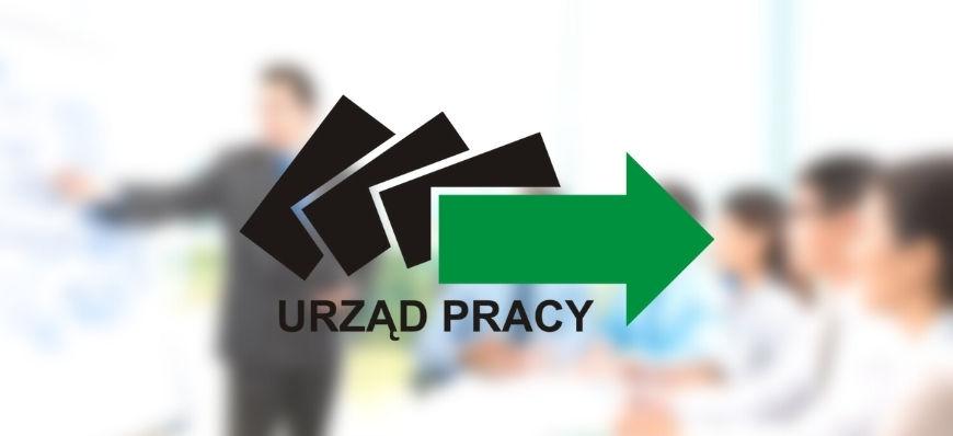 Logo Urząd Pracy na rozmytym tle
