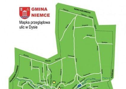 Kawałek mapy ulic w miejscowości Dys