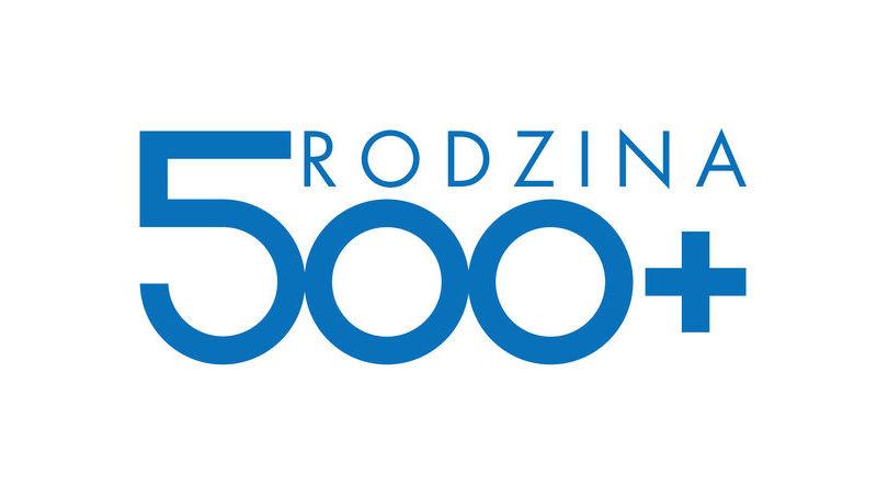 grafika napis niebieski na białym tle Rodzina 500+