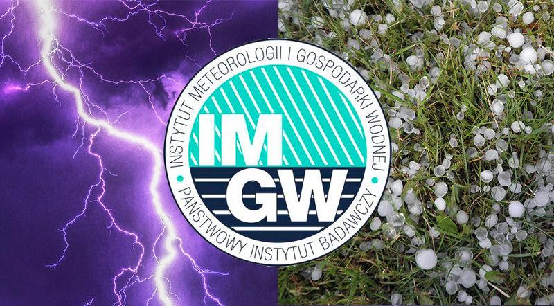 Grafika ogólna burze grad z logo Instytut Meteorologii i Gospodarki Wodnej