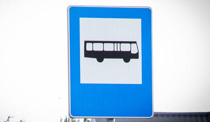 """Zdjecie przedstawia znak informacyjny """"przystanek autobusowy"""""""