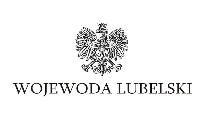 Zdjęcie przedstawia godło państwowe z napisem Wojewoda Lubelski na białym tle