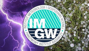 Zdjęcie przedstawia logo Instytutu meteorologii i gospodarki wodnej na tle zdjęcia burzy oraz gradu
