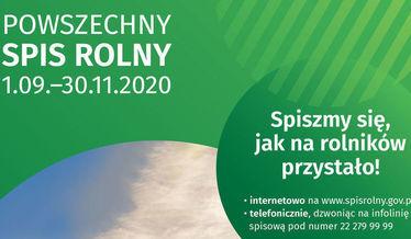 Na zdjęciu plakat informujący o Powszechnym Spisie Rolnym 2020