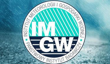 Zdjęcie przedstawia logo Instytutu Meteorologii na tle deszczu