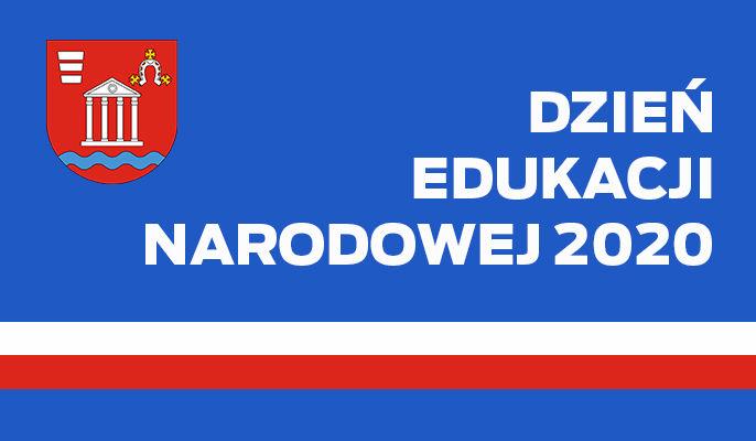 Grafika ogólna - napis Dzień Edukacji narodowej 2020, herb i barwy narodowe na niebieskim tle