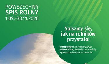 Grafika ogólna z napisem Powszechny Spis Rolny 1.09.-30.11.2020 na w większości zielonym tle