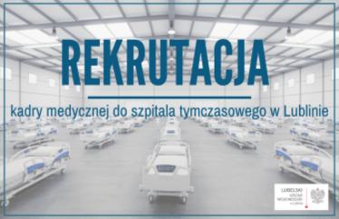 """zdjęcie przedstawia napis ,,Rekrutacja kadry medycznej"""" na tle zdjęcia łóżek szpitalnych"""
