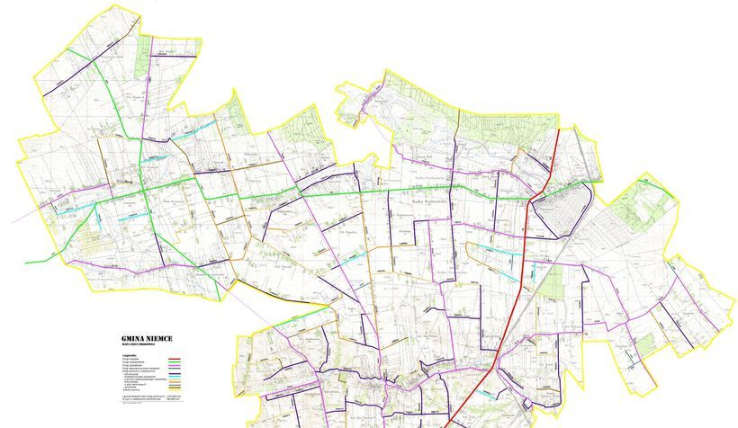 Grafika przedstawia mapę dróg gminy